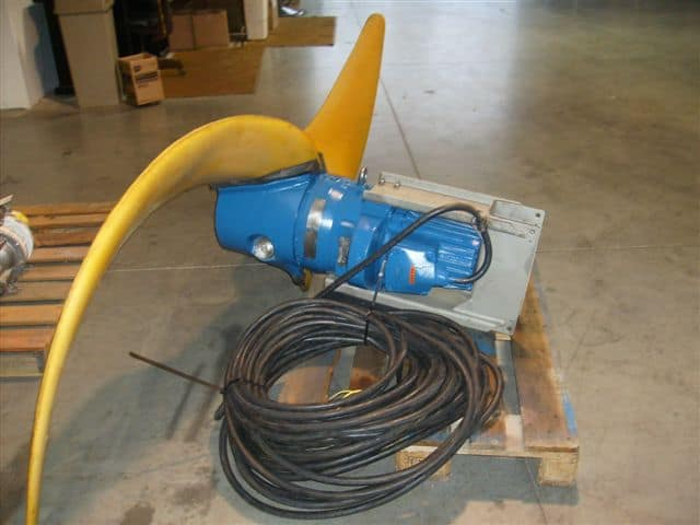 The completed rebuild of the Flygt 4430 banana blade mixer is ready for installation.